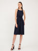 Aurelie Satin Slip Dress in Navy Blue