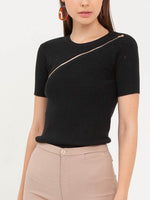Bethany Zipper Top in Black