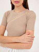 Bethany Zipper Top in Sand