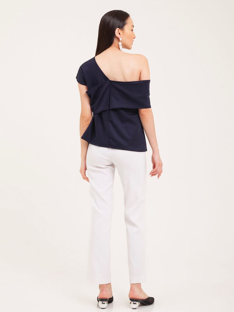 Darcy Off-Shoulder Scuba Top in Navy
