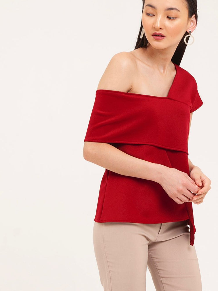 Darcy Off-Shoulder Scuba Top in Red