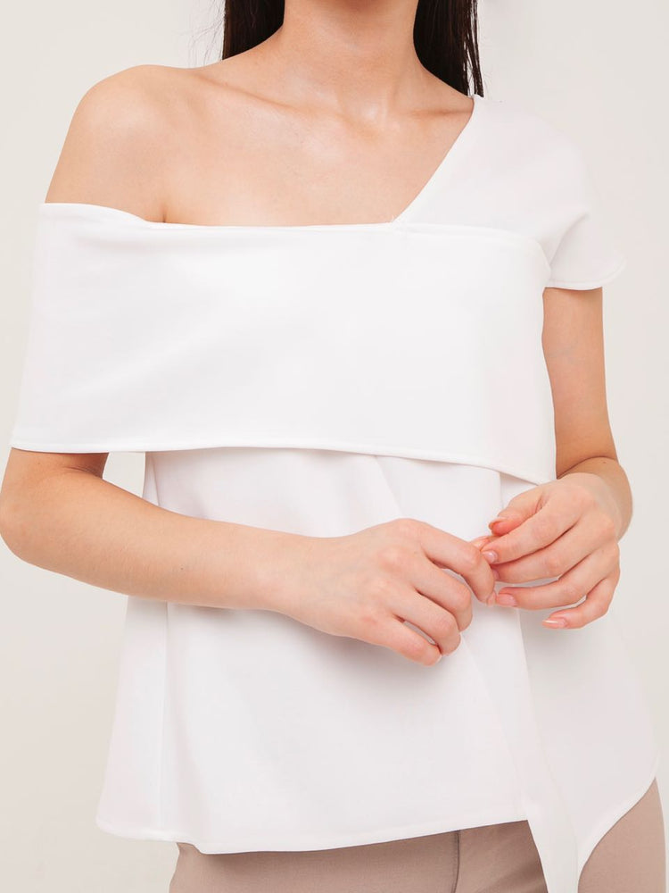 Darcy Off-Shoulder Scuba Top in White