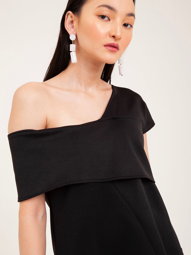Darcy Off-Shoulder Scuba Top in Black