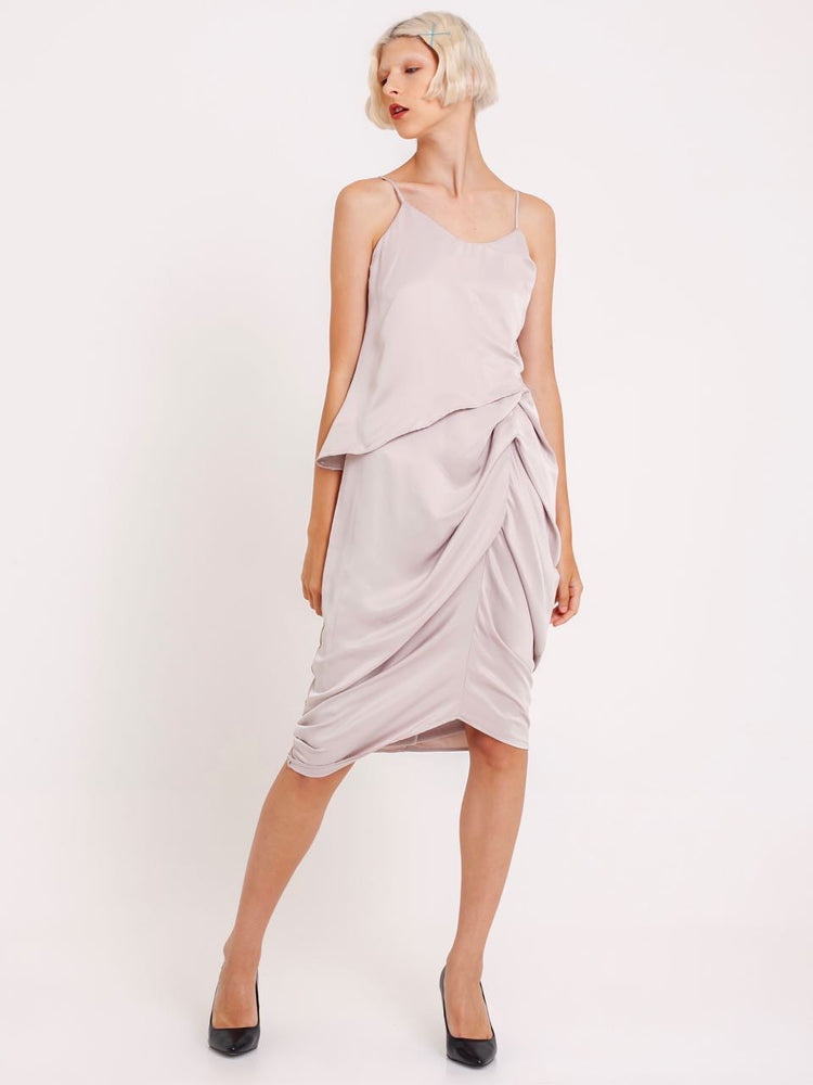 Lea Satin Ruched Dress in Nude Beige