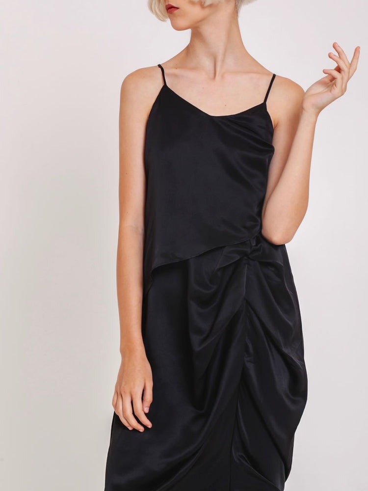 Lea Satin Ruched Dress in Black