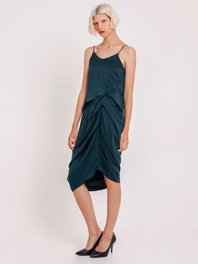 Lea Satin Ruched Dress in Green
