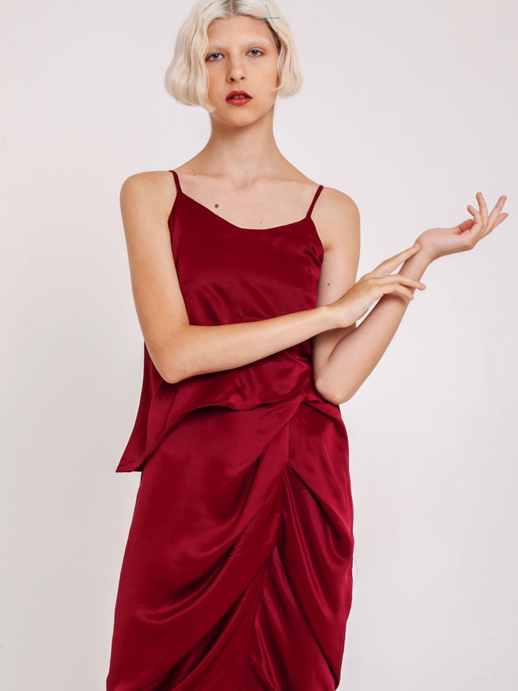 Lea Satin Ruched Dress in Wine Red