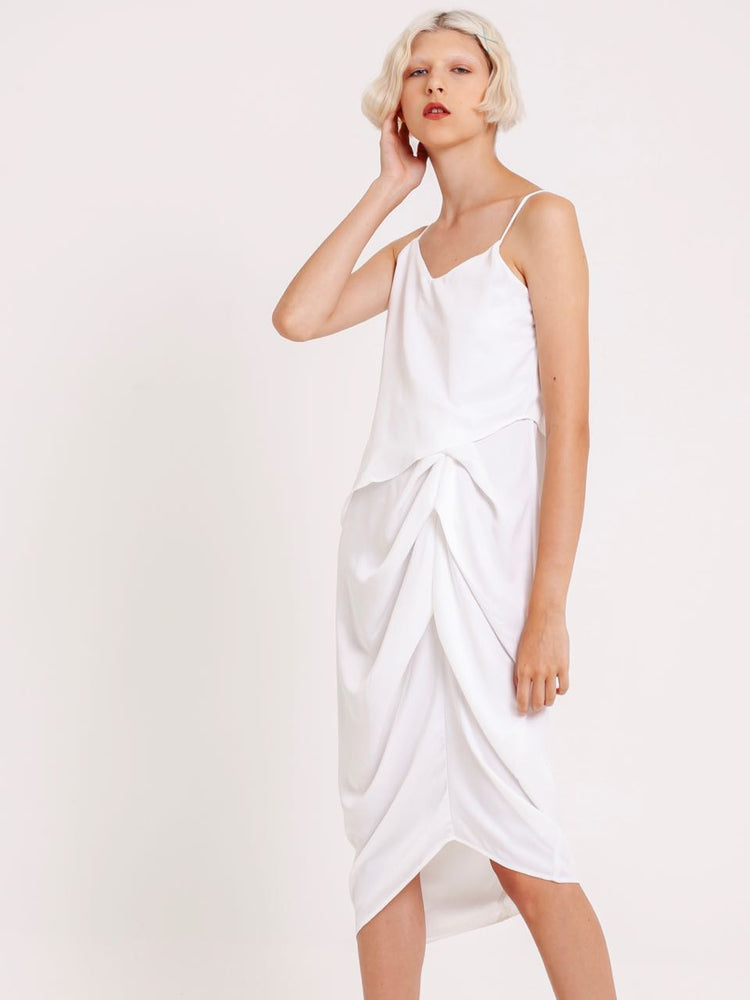 Lea Satin Ruched Dress in White