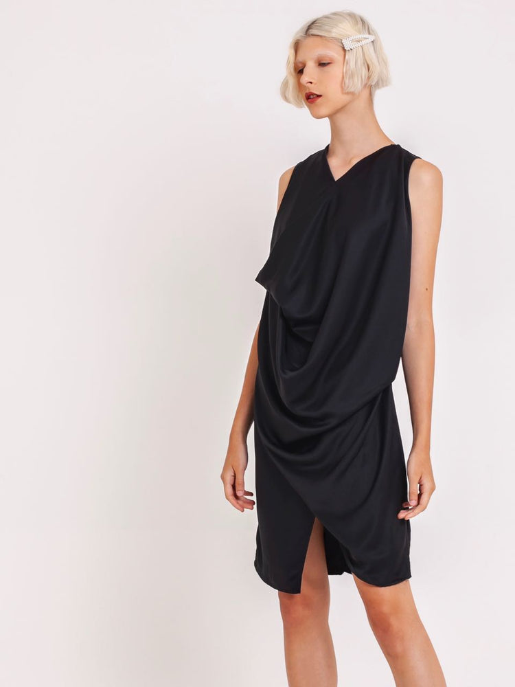 Miranda Draped Satin Dress in Black