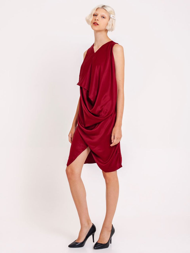 Miranda Draped Satin Dress in Red