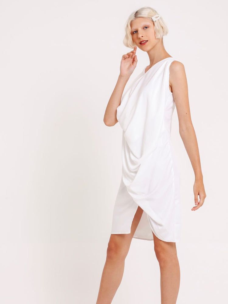 Miranda Draped Satin Dress in White