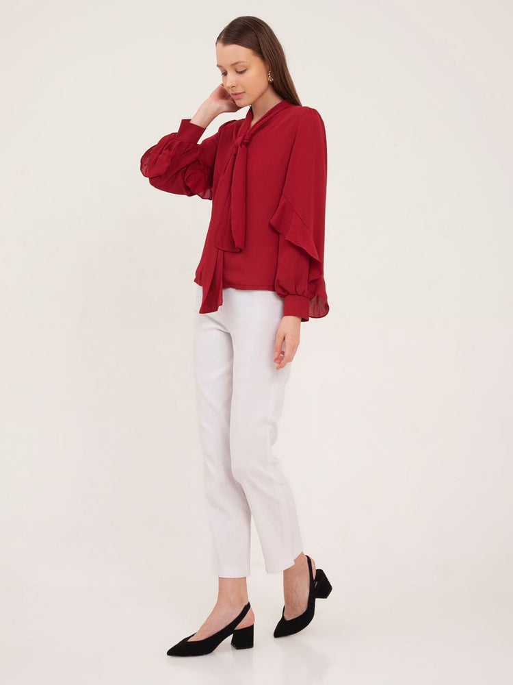 Briana Long Sleeved Shirt in Red