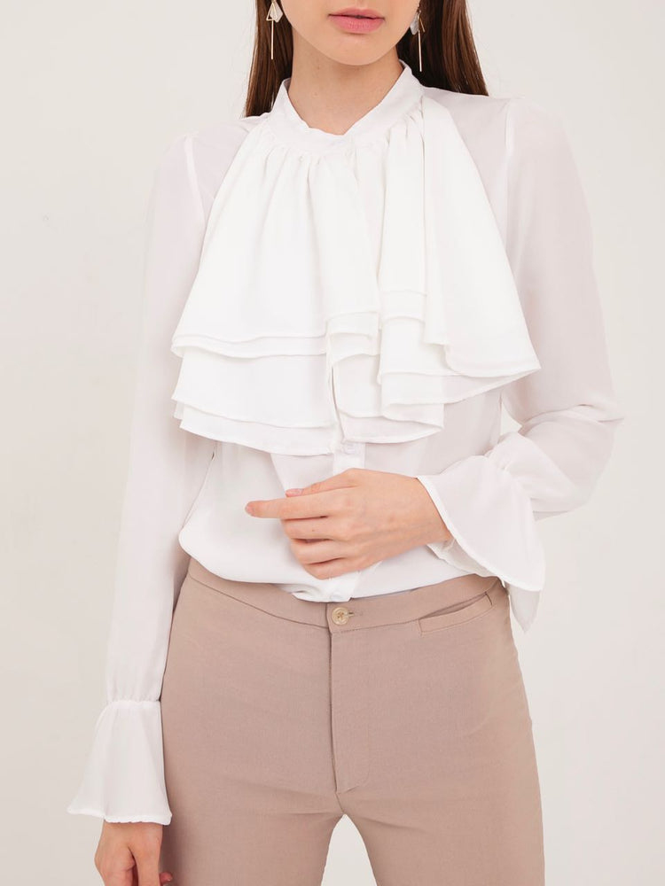 Delphine Ruffled Bib Shirt in White