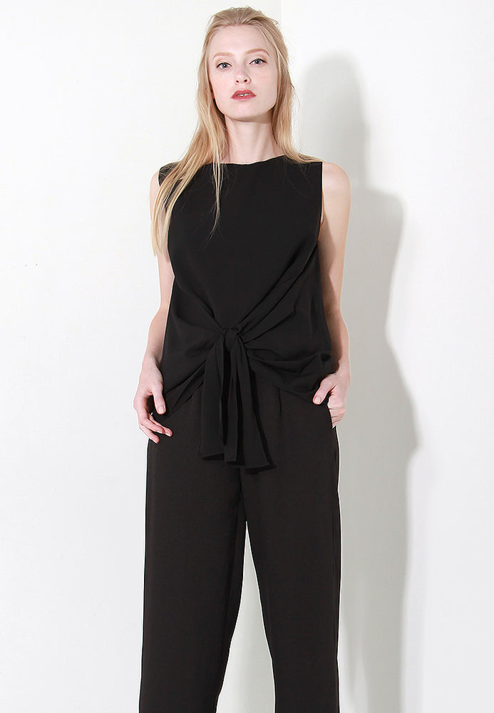 Dayle Waist Tie Blouse in Black