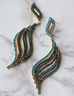 Diamante Wave Pierced Earrings in Teal