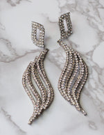 Diamante Wave Pierced Earrings in Vintage Silver