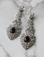 Silver and Black Chandelier Drop Earrings