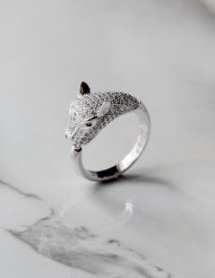 Adjustable Diamante Panther Ring in Silver
