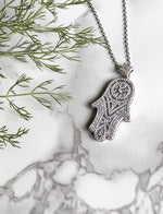 Hamsa Hand Diamante Long-Chain Necklace in Silver