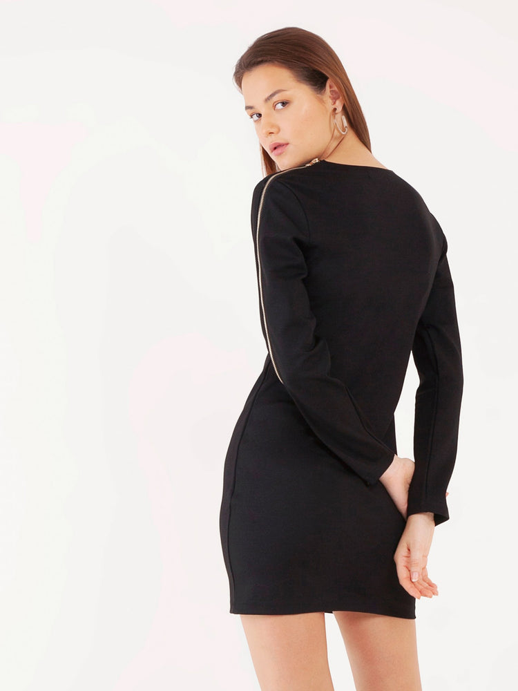 Zenya Zipper Long Sleeved Shift Dress in Black
