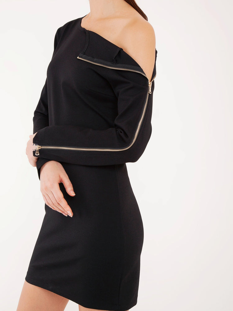 Zenya Zipper Shift Dress in Black