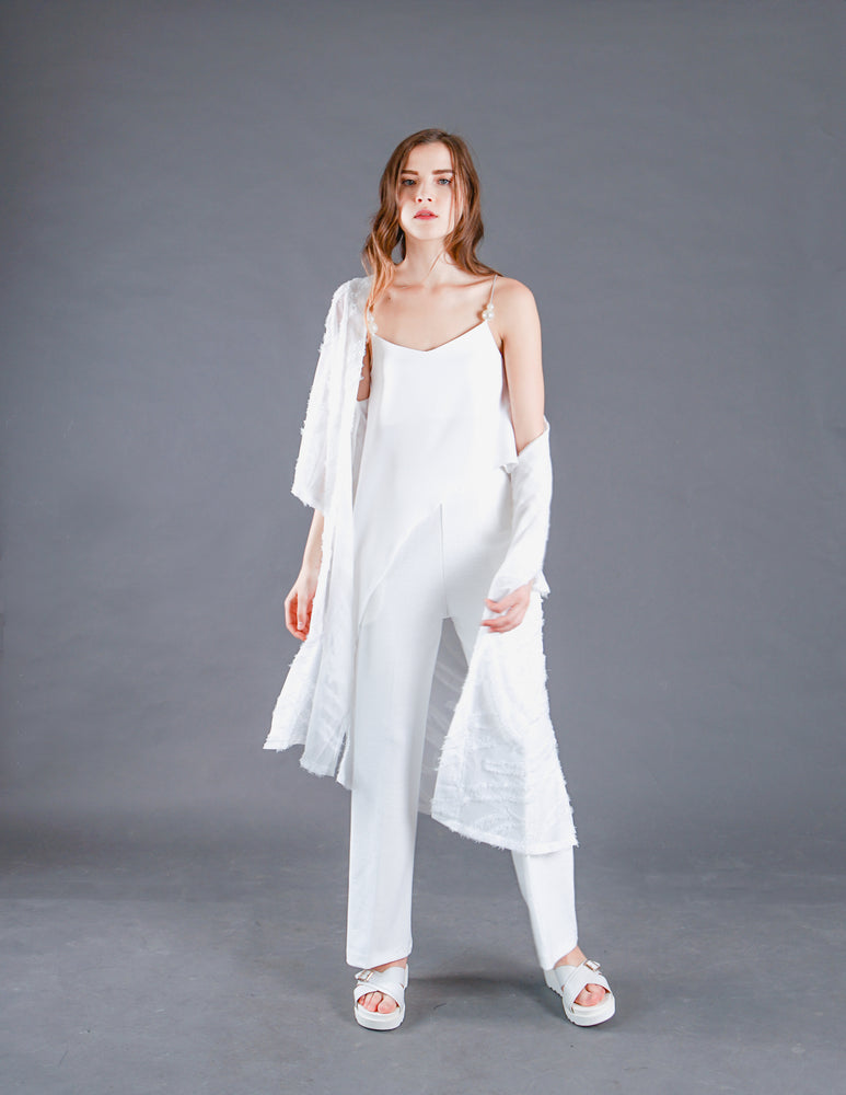 Hailey Textured Sheer Cover Up in White