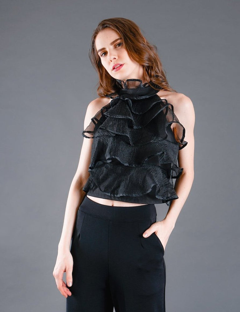 Carly Tiered Organza Halter Neck Top in Black