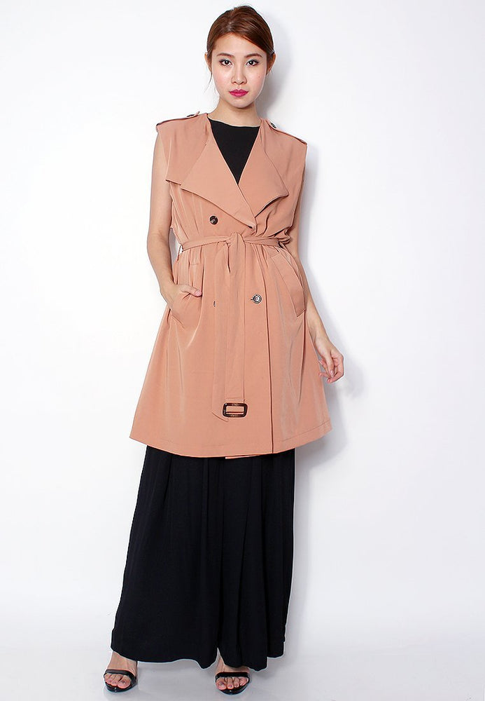 Lia Drape Sleeveless Trench Vest in Dark Camel