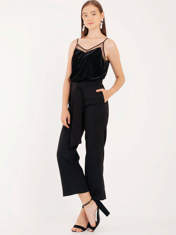 Vanda Velvet Spaghetti Tank Top in Black