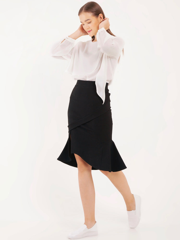 Mya Midi Mermaid Pencil Skirt in Black