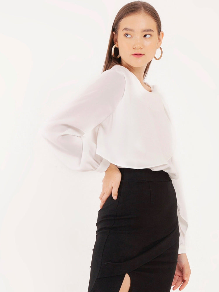 Bibiana Long Sleeved Blouse in White