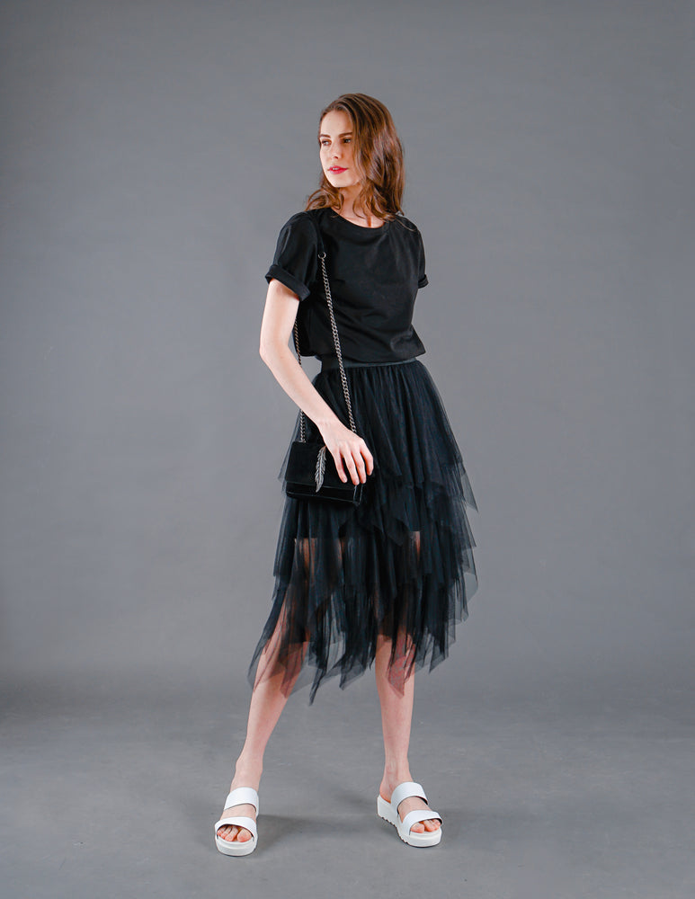 Farrah Fluffy Tiered Mesh Skirt