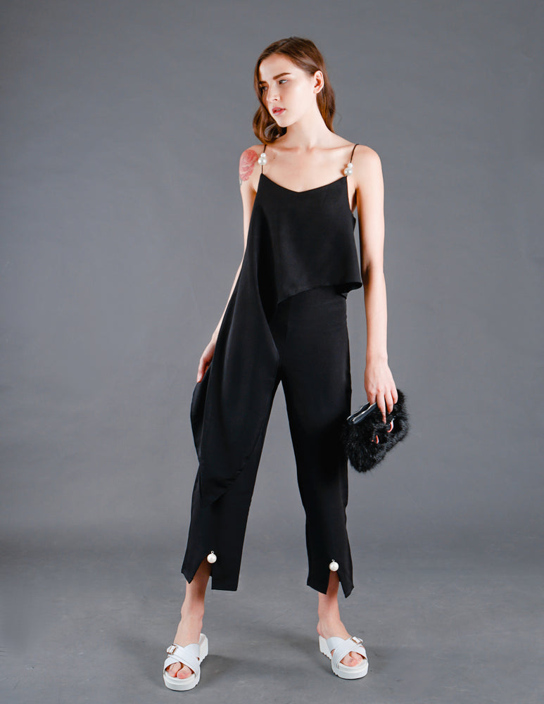 Pearl High-waisted Cropped Pants in Black