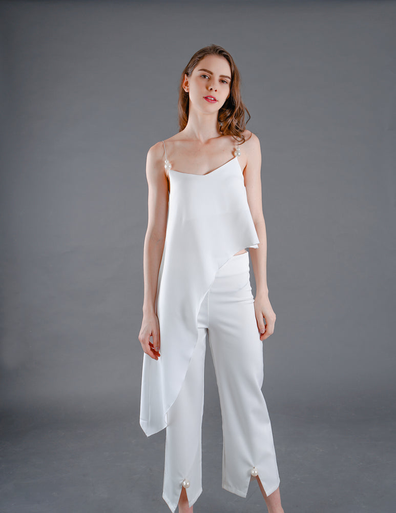 Pearl High-waisted Cropped Pants in White
