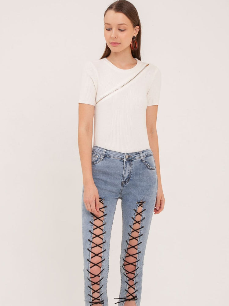 Cristal Laced Up Jeans