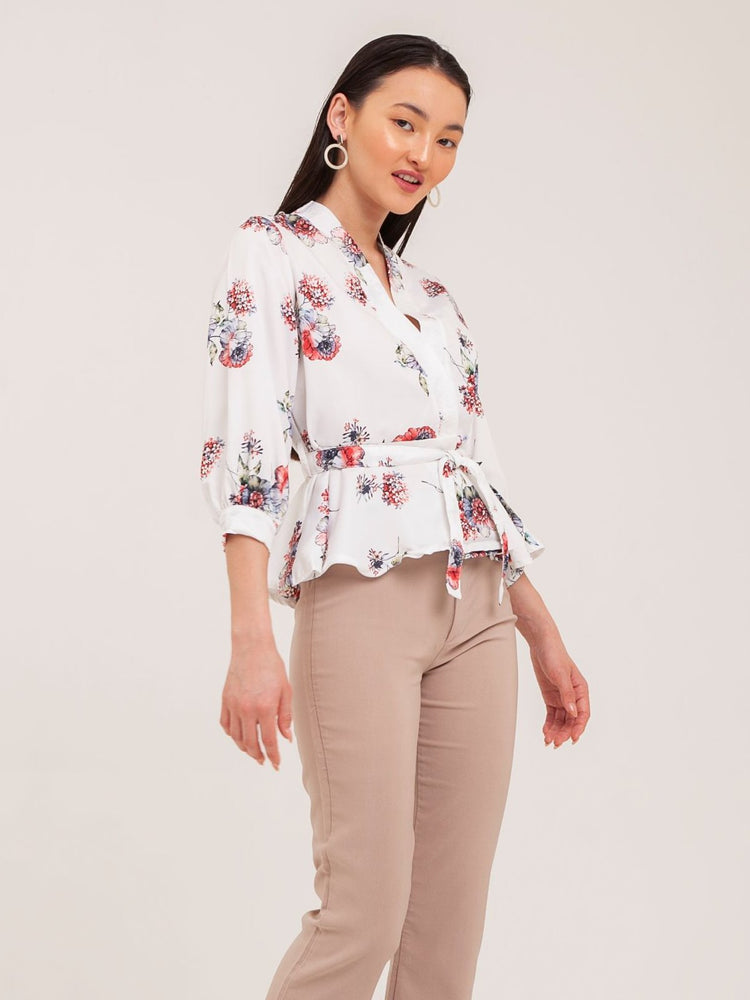 Meryl Floral Kimono Top in Red Petals