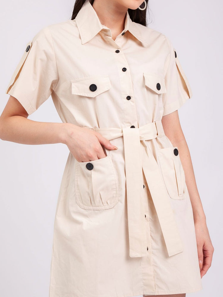 Jane Safari Dress in Beige