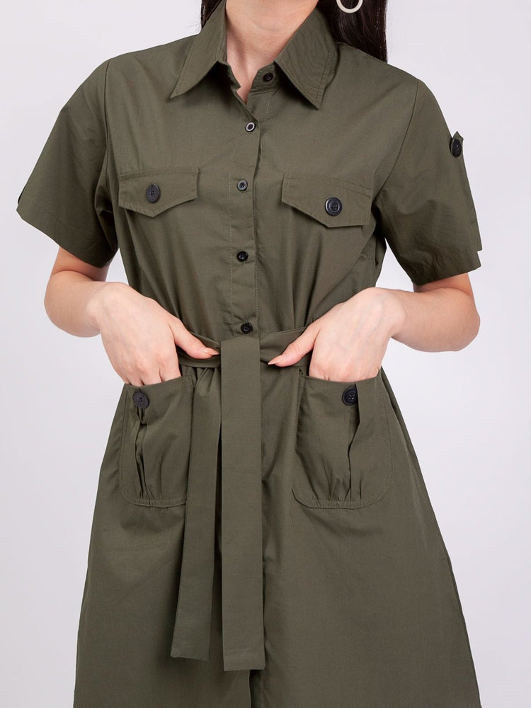 Jane Safari Dress in Olive Green