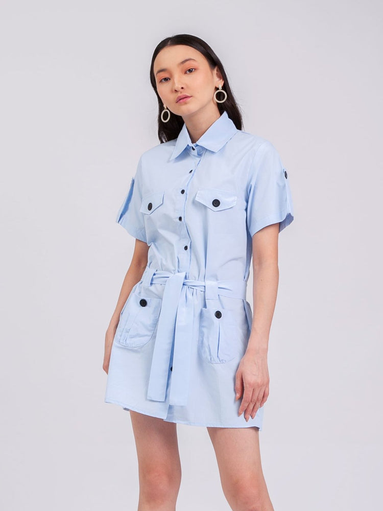 Jane Safari Dress in Sky Blue