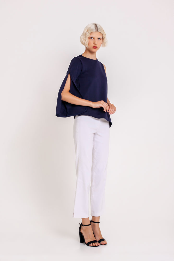 Celestine One-sleeved Top in Navy