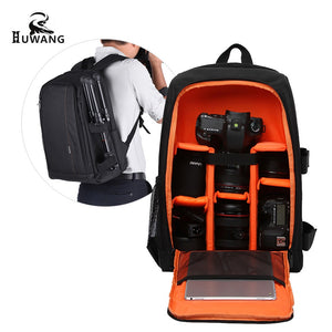 HUWANG Large Padded Camera Bag Outdoor Photography Travel Backpack Shock-proof Water-resistant with Rain Cover Tripod Holder Laptop Pocket for Nikon Canon Sony DSLR Cameras - Entertainment Vlog