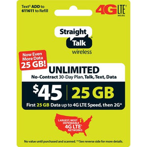 (Must buy)Straight Talk $45 Unlimited 30 Day Plan (with 25GB of data at high speeds, then 2G*) (Email Delivery) - Entertainment Vlog