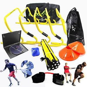 Wealth TEAM SPEED AGILITY & QUICKNESS Training Kit with Instructional DVD | High School & College | Football, Soccer, Basketball, Baseball, Supports All Sports | Hurdles, Ladder, Power Resistor, & MORE! - Entertainment Vlog
