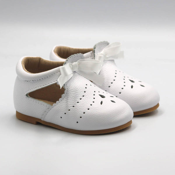 'Charlotte' White Ribbon Shoe Hard Sole
