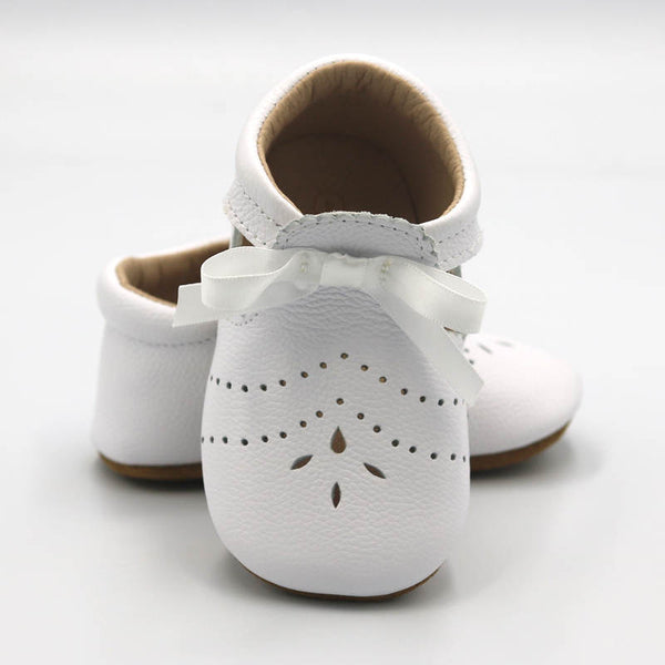 'Charlotte' White Ribbon Shoe Soft Sole