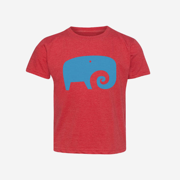 Surf Elephant Print Crew Neck Kids T-Shirt