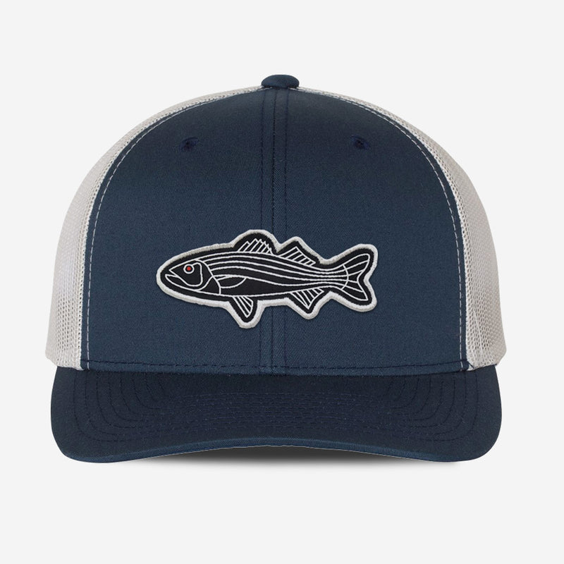 Bass Fish Trucker Hat - Navy/Sliver