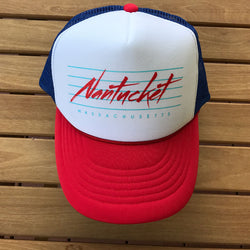 Nantucket Print Trucker Hat - Red And Blue