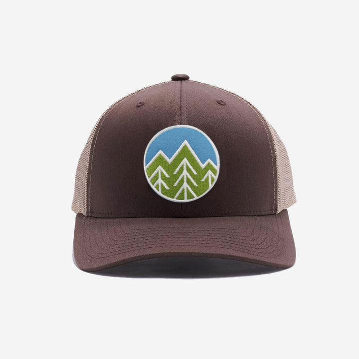 Sky Trees Trucker Hat - Khaki Brown