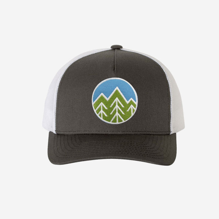 Sky Trees Trucker Hat - Charcoal White